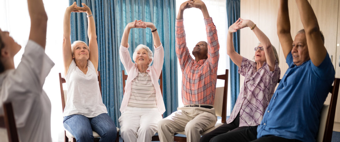 group of seniors are excersising